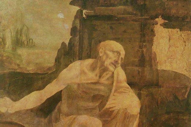 """لوحة """" القديس جيروم في الصحراء """" لـ """" ليونارد دا فنشي """""""